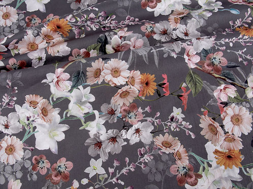 Dark Grey Floral Cotton Lawn