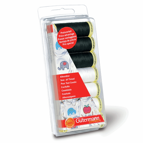 Gutermann Sew-all Thread - Black and White 7 Pack