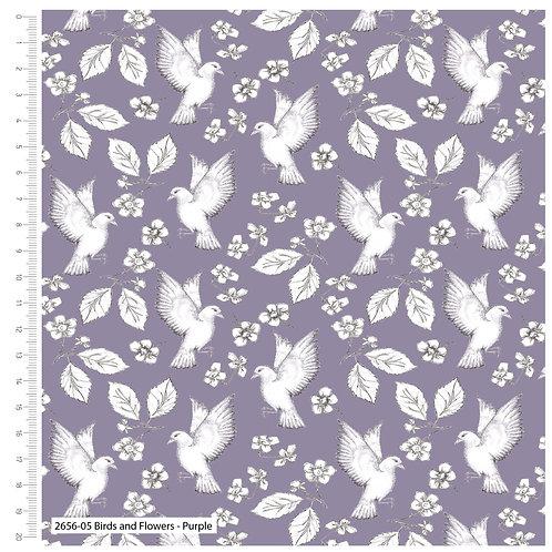 Debbie Shore 'Garden Birds' - Purple Birds (price per half metre)