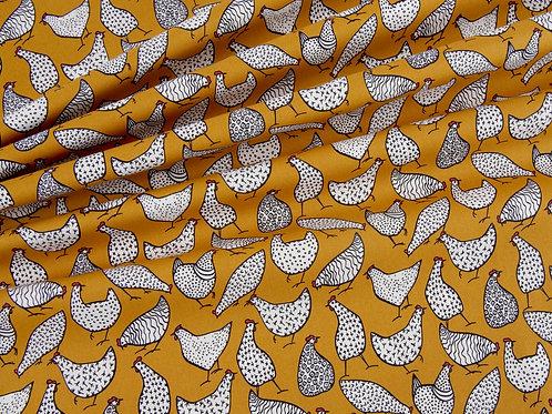 Mustard Chicken Print Cotton Poplin (price per half metre)