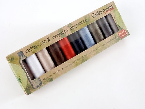 Gutermann Recycled Polyester Thread-  10 Reels Darks