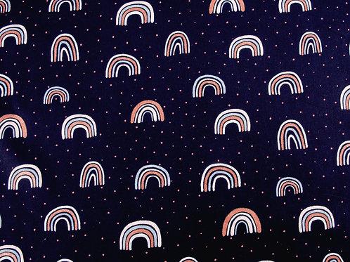 Navy Glitter Rainbow Cotton