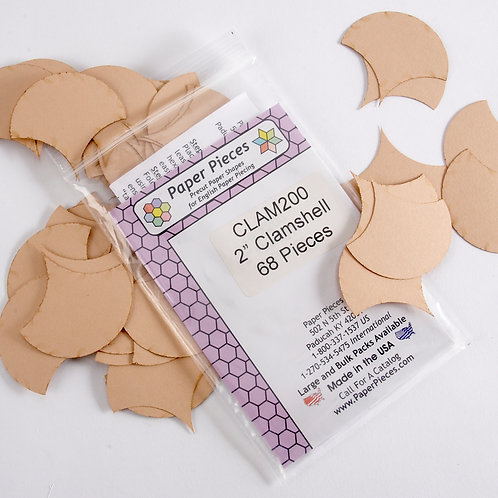 "Paper Pieces - 2"" Clam Shells  (68 pieces)"