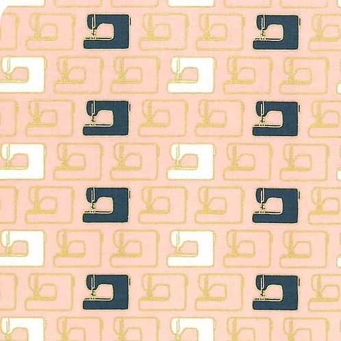 Riley Blake - Blooms and Bobbin Pink Machine (price per half metre)