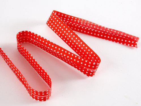 Bias Binding Single Fold - 20mm X 3m Red White Spot