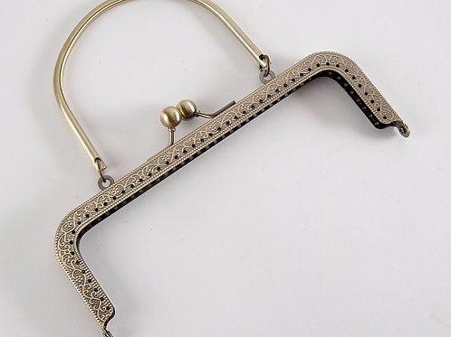 'Bette' Square Kiss Clasp Purse Frame with Handle  - Bronze 17cm