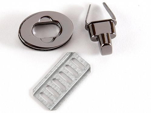 Oval Metal Clasp Twist Turn Lock - Gunmetal Grey