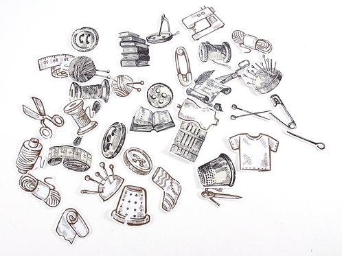 Sewing Theme Stickers - Retro Drawings (Black and White)