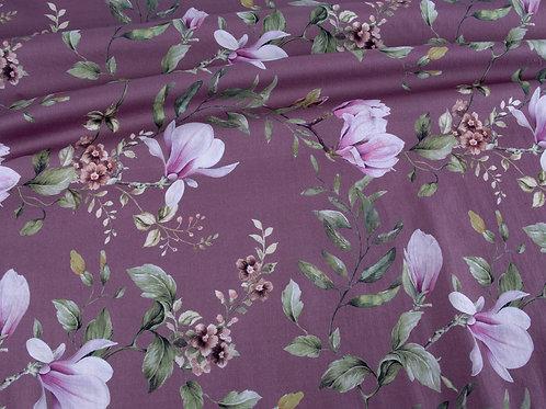 Mauve Purple Floral Cotton Lawn