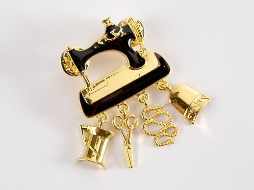 Enamel Sewing Machine Brooch Pin  - Black and Gold