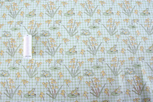 Lily Pad - Frogs on Gingham Fabric (price per half metre)