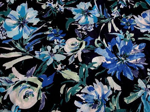 Blue Floral Mixed Viscose Print