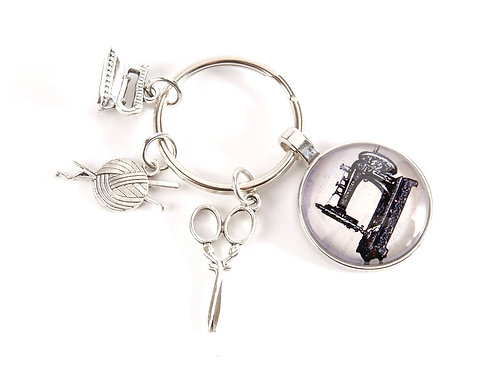 Sewing Machine Key Ring - Silver