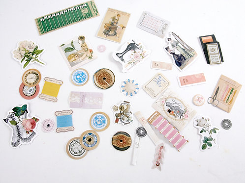 Sewing Theme Stickers - Vintage Colour