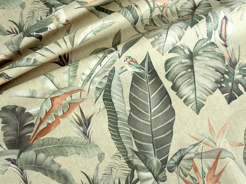 Deluxe Soft Tropical Lilies Print Canvas (price per half metre)