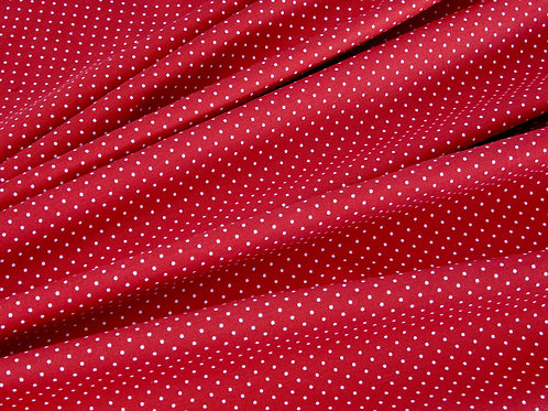Deep Red Pin Spot Cotton Poplin (price per half metre)