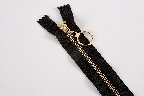 Metal Zip with Decorative Pull - Black with Circle Pull