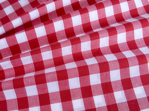 "Red Gingham 1"" Check Poly Cotton"
