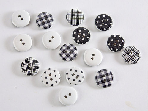 Grey and White Button Collection - 16 Buttons