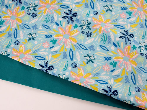 Perfect Pair - AGF Blue Summer Flowers + Teal Cotton (0.5m pieces)