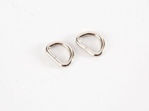 """1/2"""" silver tone D rings pack of 2"""
