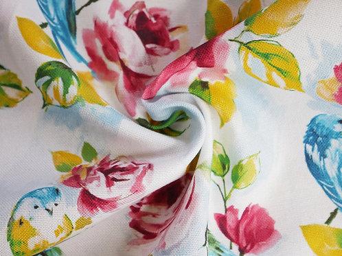 Roses and Birds Print Canvas -White (price per half metre)