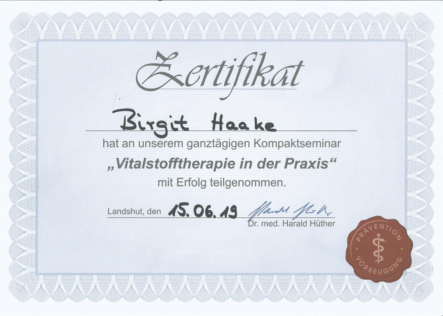 Hüther Vitalstofftherapie