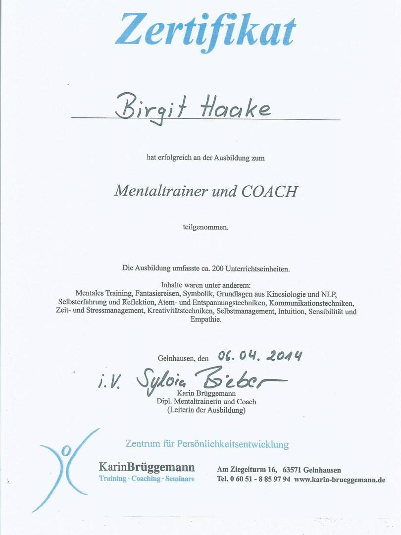 Zertifikat Mentaltrainer