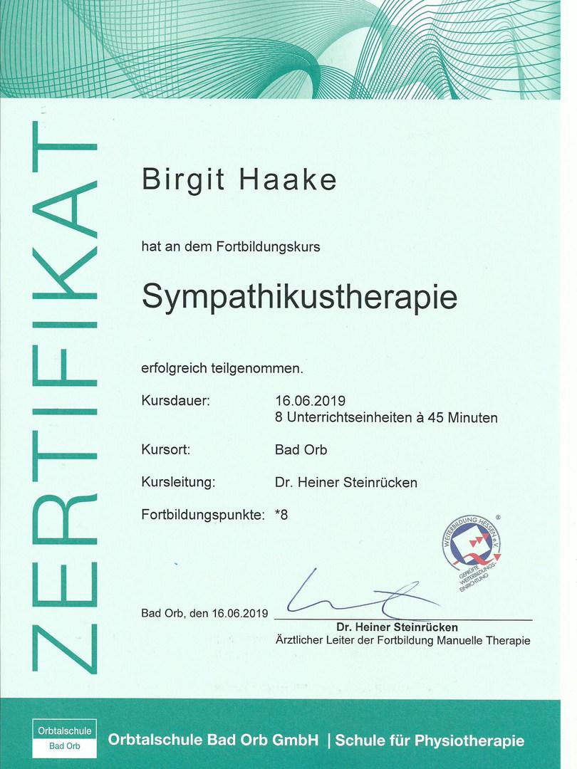 Sympathikustherapie-Zertifikat