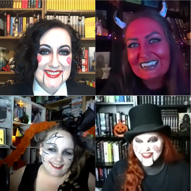 Kat and Dawn were accidental twinsies as Jigsaw, I'm a devil and the odd man out with a bright red face, and Claire is a spooky spidery lady in a fancy little hat.