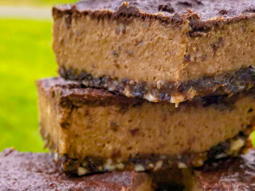 Raw Caramel Slice with Cacao Topping