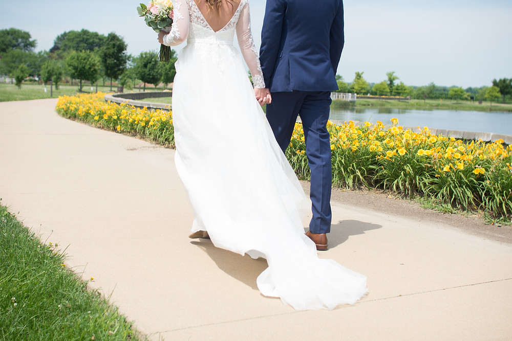 Springfield, Lincoln, IL, Illinois, Sherman, Chatham, Erin's Pavilion, Central Illinois, Wedding Day, Bloomington, Wedding, Photography, Photographer, Lifestyle, Affordable, Cheap, Peoria, Normal, Midwest, Walking, Bride and Groom, Summer, June