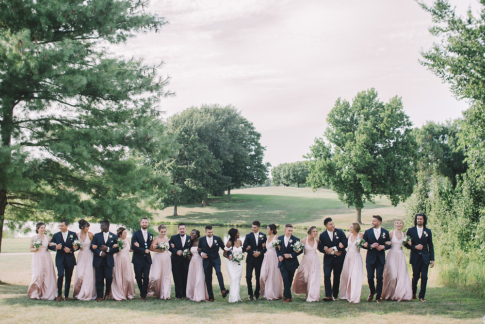 Springfield, IL, Illinois, Pipe Glen, Golf Club, Bridal Party, Groomsmen, Bridesmaids, Big Bridal Party, Bride, Groom, Course, Wedding Venue, Outdoor Wedding, Central Illinois, Chatham