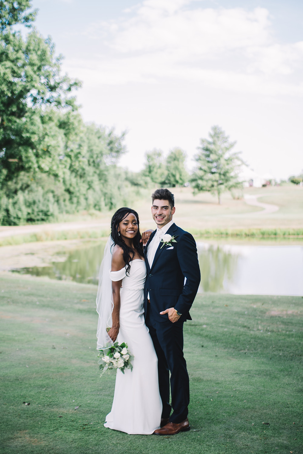 Springfield, IL, Illinois, Pipe Glen, Golf Club, Course, Wedding Venue, Outdoor Wedding, Central Illinois, Chatham, Bride, Groom, Young Love, Off Shoulder Dress, Gown, Interracial Couple, Haitian, College Sweethearts