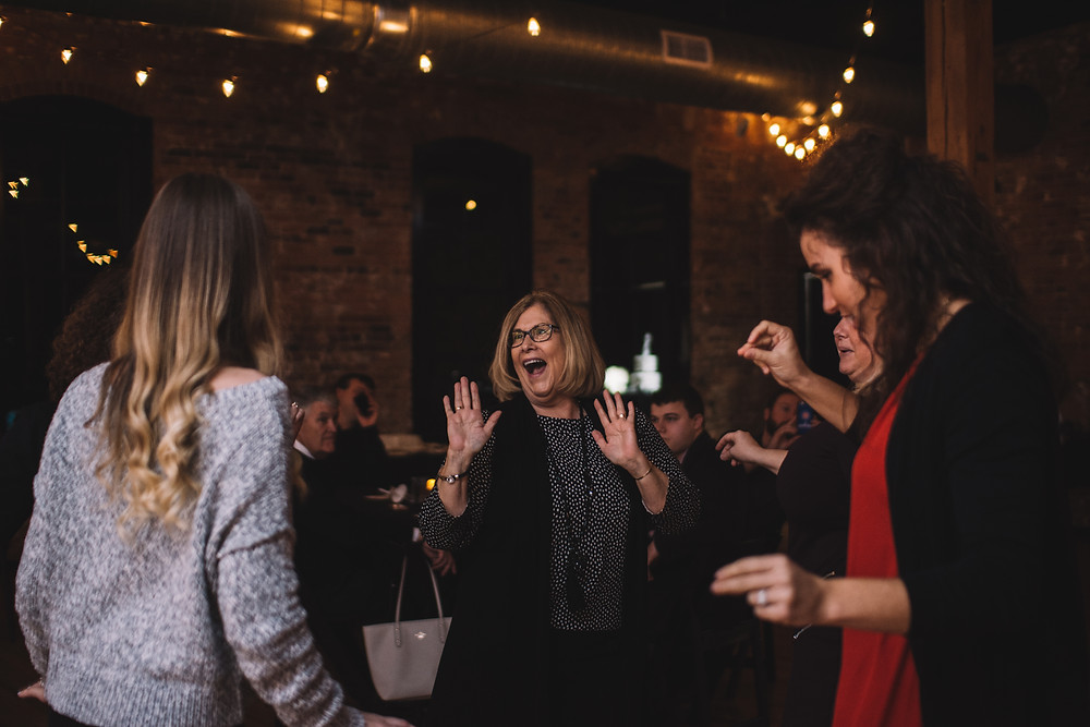 Peoria, IL, Illinois, Trailside Event Center, Wedding Venue, Central Illinois, Exposed Brick, Wooden Columns, Warehouse, Renovated, Peoria Heights, Illinois Photographer, Photography, Reception, Dancing