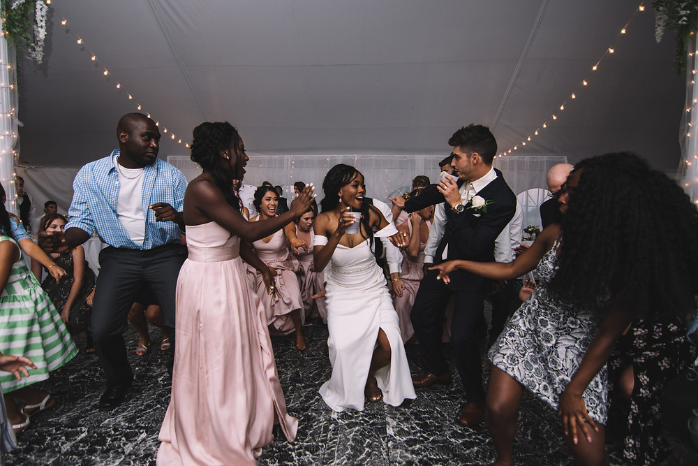 Springfield, IL, Illinois, Pipe Glen, Golf Club, Course, Wedding Venue, Outdoor Wedding, Central Illinois, Chatham, Bride, Groom, Young Love, Off Shoulder Dress, Gown, Interracial Couple, Haitian, College Sweethearts, Reception, Dance Party, DJ