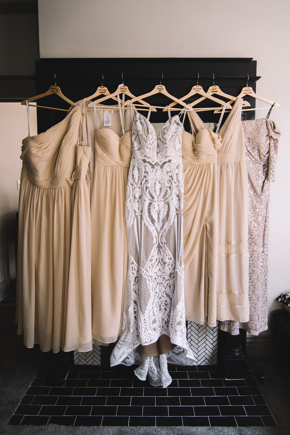 springfield, il, illinois, chatham, rochestor, sherman, capital of illinois, central il, illinois wedding photographer, springfield wedding, springfield wedding photographer, covid wedding, fall wedding, dress with bridesmaid dresses, dresses hung up, bride and bridesmaids, wedding hangers