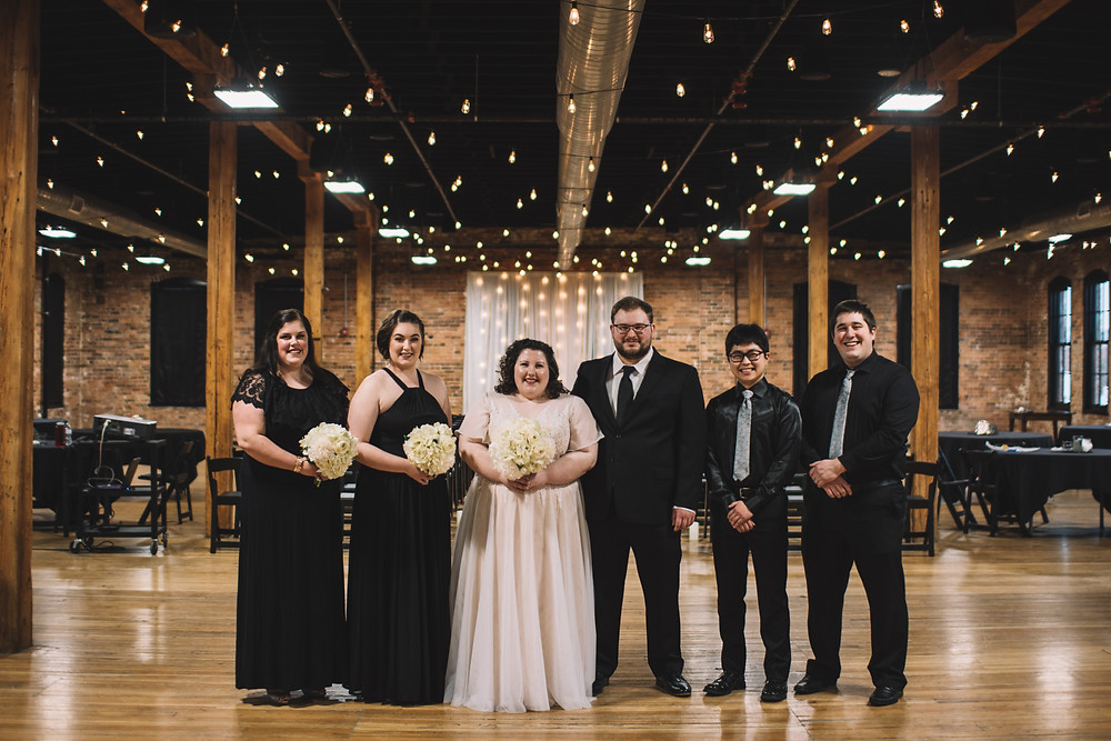 Peoria, IL, Illinois, Trailside Event Center, Wedding Venue, Central Illinois, Exposed Brick, Wooden Columns, Warehouse, Renovated, Peoria Heights, Illinois Photographer, Photography, Bridal Party, Bride, Groom, Groomsmen, Bridesmaids