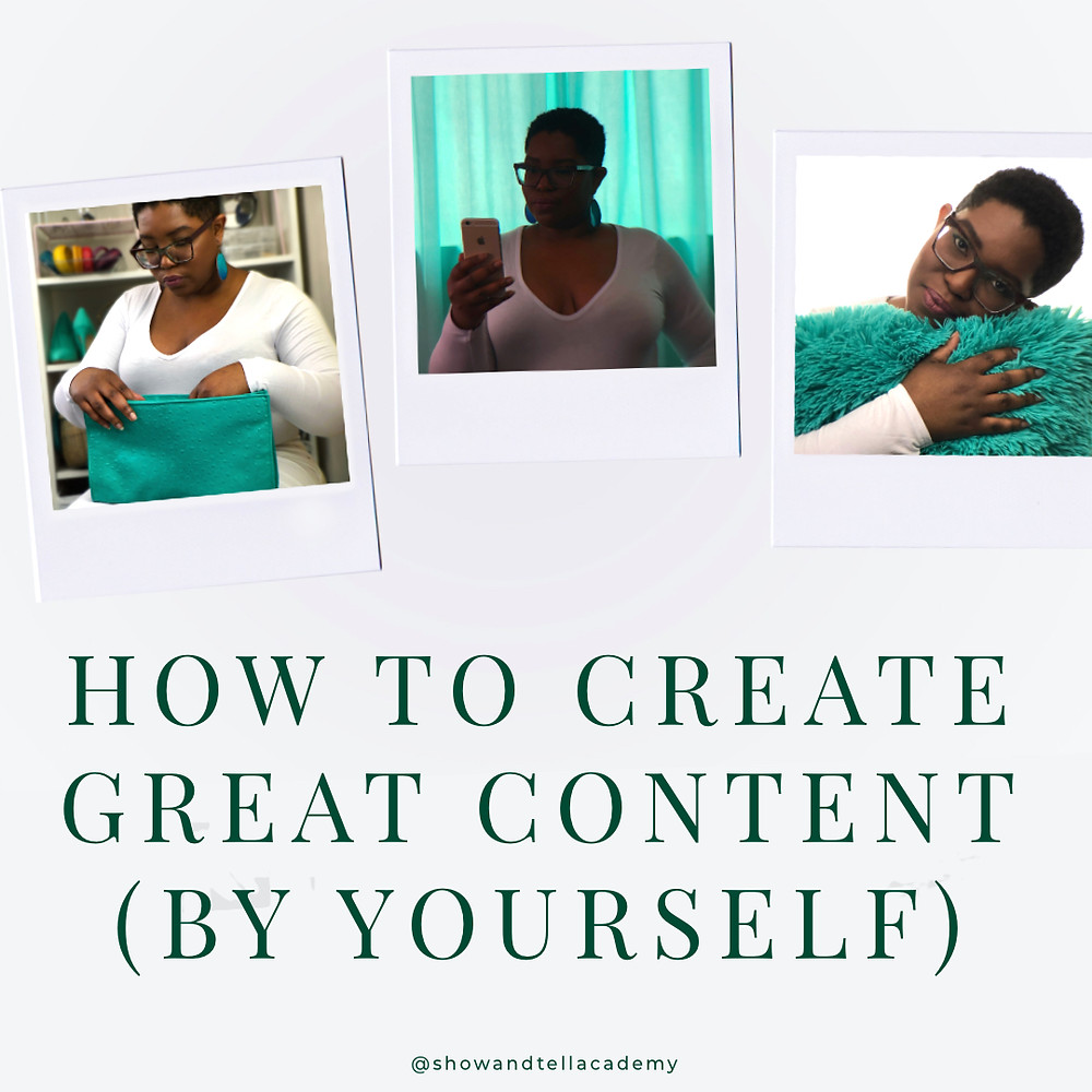 """Three polaroids photos of Dominique. She is looking into a turquoise purse in one. She is looking at her phone while in front of turquoise curtains in the next. And she is holding a fuzzy, turquoise pillow in the third. There is also the text, """"How To Create Great Content (By Yourself)"""""""