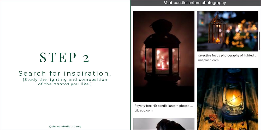 """A screenshot of """"candle lantern photography"""" inspiration from Unsplash."""