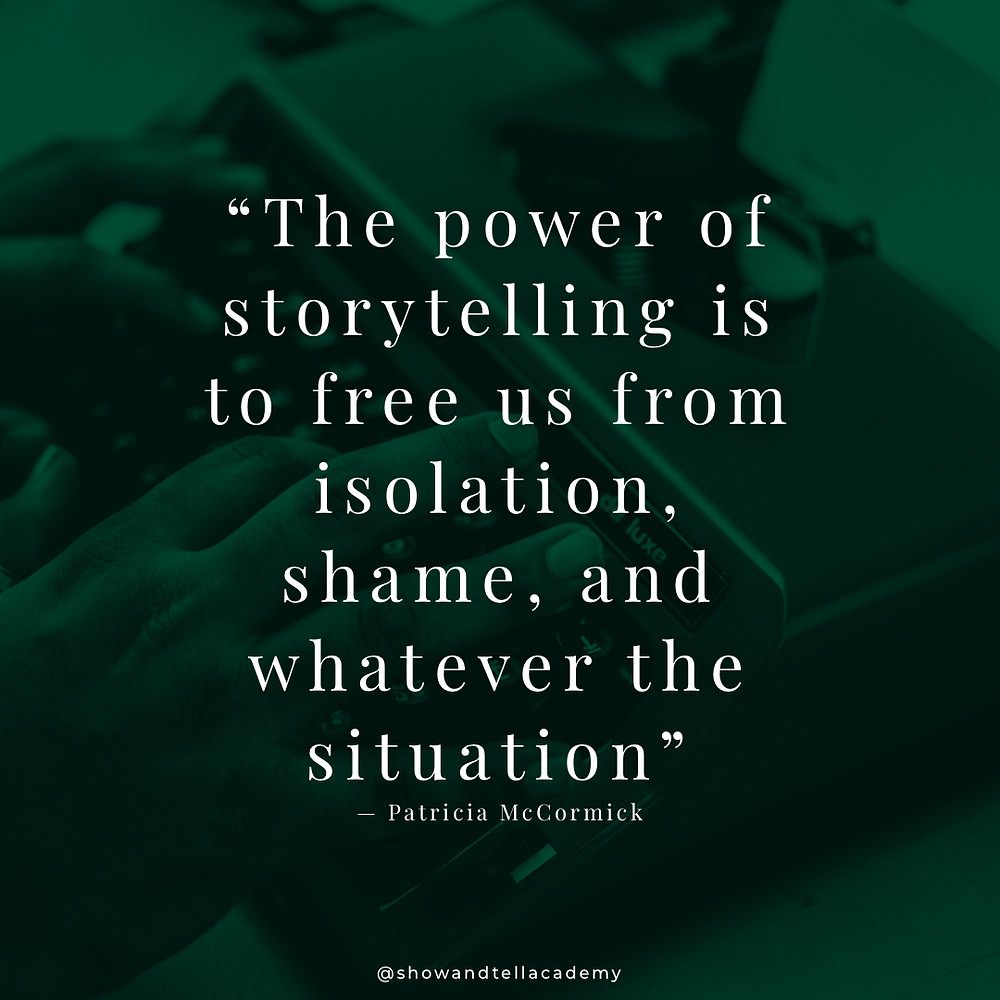 """A Black man is typing on a typewriter. There is a dark green overlay with the text, """"The power of storytelling is to free us from isolation, shame, and whatever the situation."""" - Patricia McCormick"""