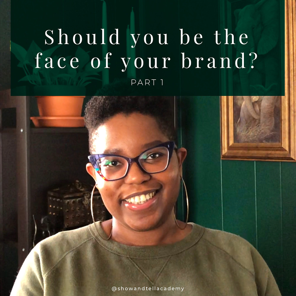 """Dominique is smiling and looking at the camera. There is a green bar with text above her that says, """"Should you be the face of your brand? Part 1"""""""