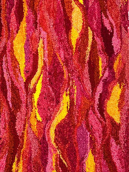 Pathways from the Future series. Fiery warm colors in this machine tufted piece.