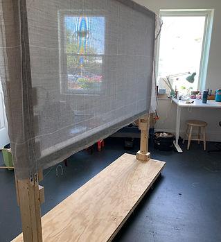 Tufting Frame in Cat Babbie's studio