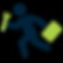 running man, briefcase, wrench
