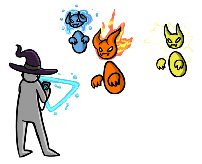 Cartoon wizard casting a spell to counter the incoming