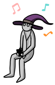 Cartoon wizard in a sitting position, holding a mobile device, with headphone on, playing a mobile game