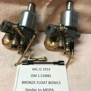 MG J2 SU OM1 carbs - bronze float bowls.