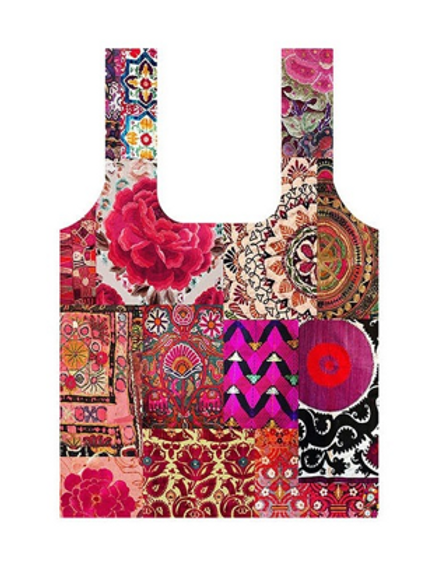 Anna Chandler Folding Shopping Bag - Pink Embroidery