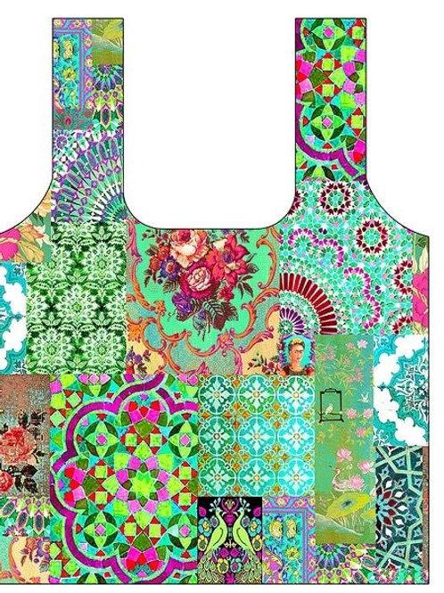 Anna Chandler Folding Shopping Bag - Green Patchwork